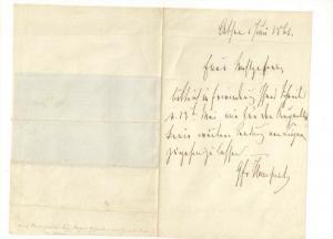 Von Hompesch-Bollheim - Eigenhändiger Brief mit Unterschrift - 1861