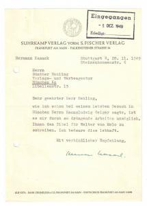 Kasack Hermann - Maschinenschriftlicher Brief mit eigenh. Unterschrift - 1949