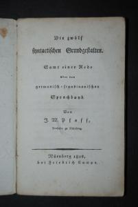 Pfaff - Die zwölf syntactischen Grundgestalten - Nürnberg 1816