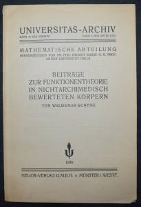 MATHEMATIK - BEITRÄGE ZUR FUNKTIONENTHEORIE - W. SCHÖBE - ERSTE AUSGABE 1930