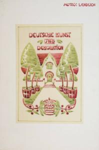 JUGENDSTIL ART NOUVEAU KOCH, DEUTSCHE KUNST UND DEKORATION ORIGINAL-AQUARELL