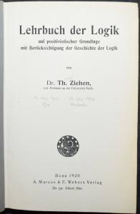 Lehrbuch der Logik aus positivistischer Grundlage - Ziehen -