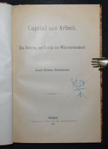 Capital und Arbeit von J. D. Beckmann - 1890 - Seltene erste und einzige Ausgabe