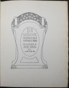 HEINRICH VOGELER - DIR - 1919 - AUF INSEL-BÜTTEN GEDRUCKT - JUGENDSTIL