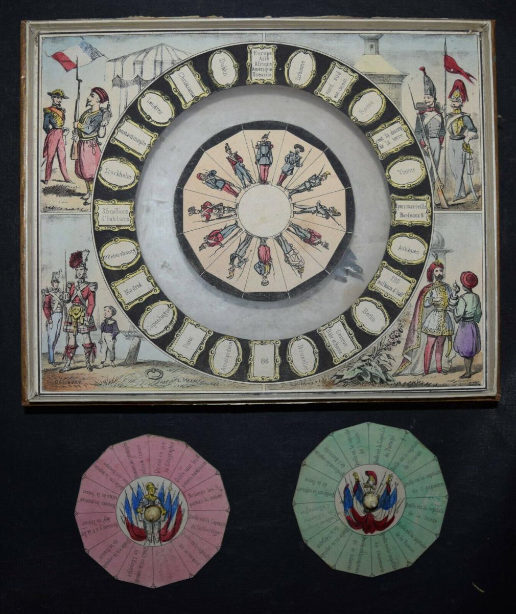 MECHANISCHES REISE-SPIEL UM 1860 SEHR SELTEN ! JEU GÉOGRAPHIQUE - GAMES - GAME 0