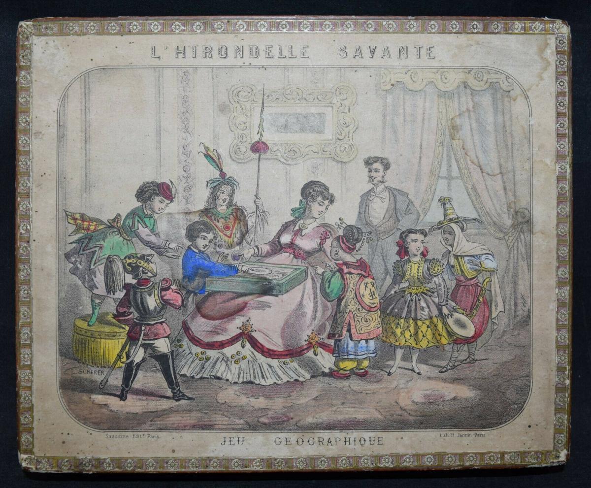MECHANISCHES REISE-SPIEL UM 1860 SEHR SELTEN ! JEU GÉOGRAPHIQUE - GAMES - GAME 1