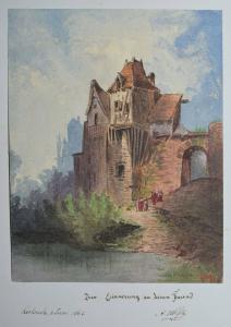 STAMMBUCH - ALBUM AMICORUM - FREUNDSCHAFTSALBUM 1861 - MIT ORIGINAL AQUARELL