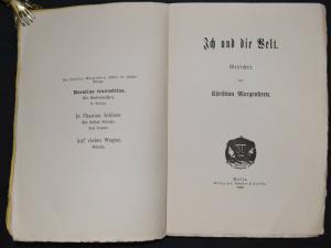 C. Morgenstern - Ich und die Welt 1898 - Seltene erste Ausgabe