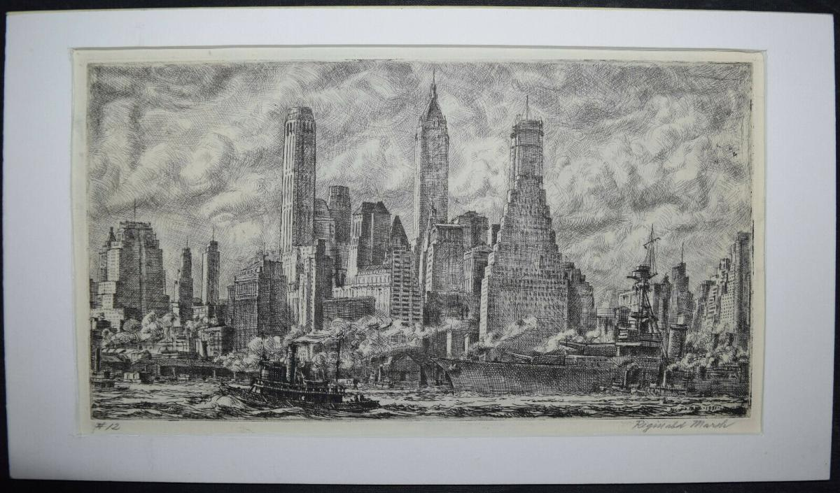 REGINALD MARCH - SKYLINE FROM PIER 10, BROOKLYN - 1931 0