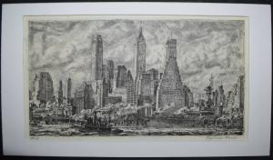 REGINALD MARCH - SKYLINE FROM PIER 10, BROOKLYN - 1931
