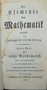 DIE ELEMENTE DER MATHEMATIK - 1793 - TRIGONOMETRIE - ASTRONOMIE - OPITK - OPTICS
