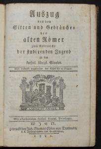 Von den Sitten und Gebräuchen der alten Römer 1782 - ERSTE UND EINZIGE AUSGABE