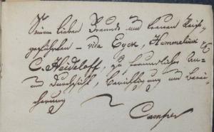 WIDMUNG VON FRIEDRICH CAMPE AN CARL ALEXANDER HEIDELOFF - MALER-LEXICON - 1833