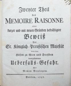 HERTZBERG - ZWEYTER TEIL DES MEMOIRE RAISONNE - 1757 - ÖSTERREICH PREUSSEN