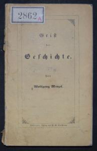 Geist der Geschichte 1835 - Erste Ausgabe, selten - W. Menzel