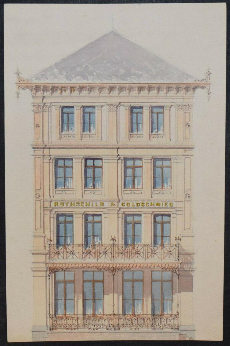 Architektur-Zeichnungen - Zürich um 1890 - 6 Original-Aquarelle - Schweiz 0