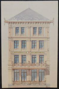 Architektur-Zeichnungen - Zürich um 1890 - 6 Original-Aquarelle - Schweiz