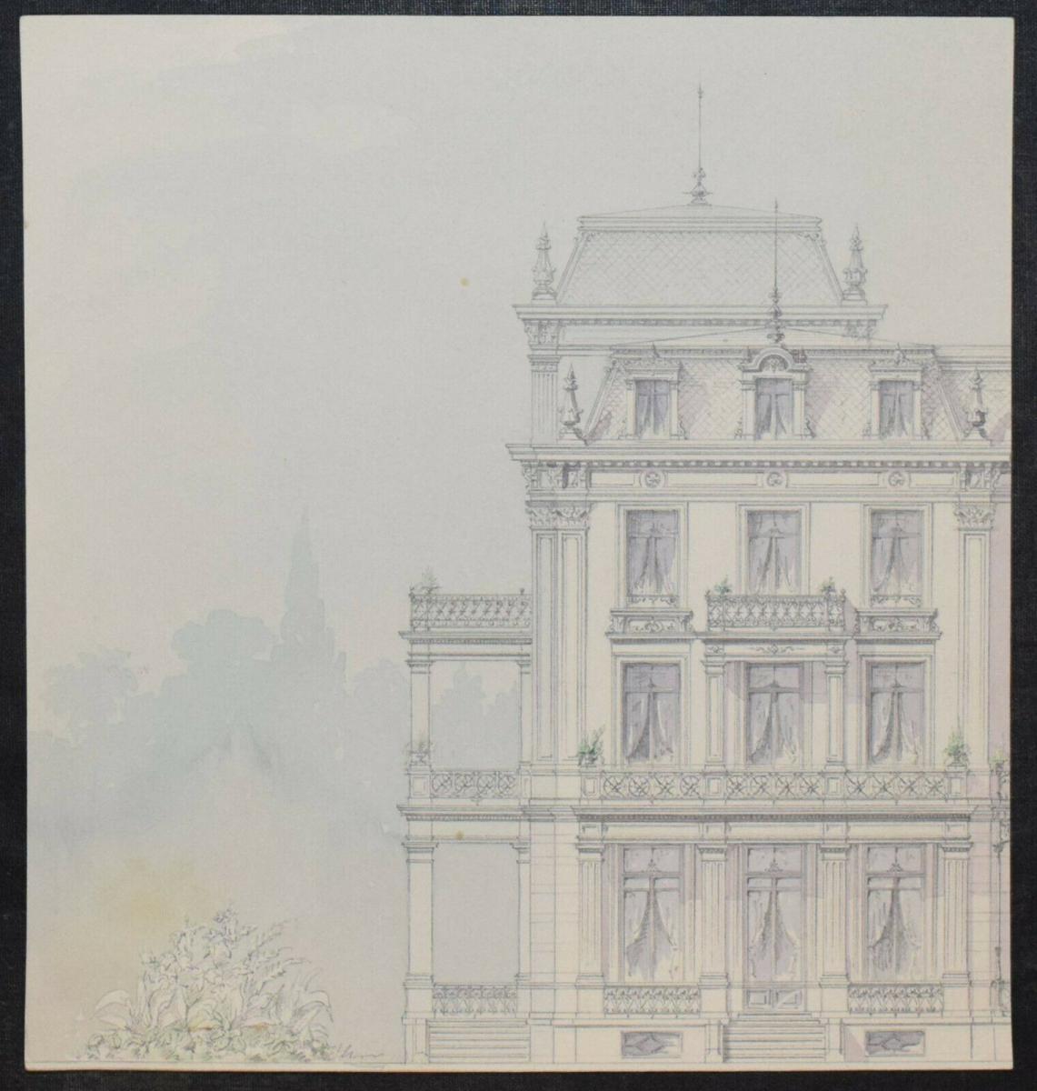 Architektur-Zeichnungen - Zürich um 1890 - 6 Original-Aquarelle - Schweiz 1