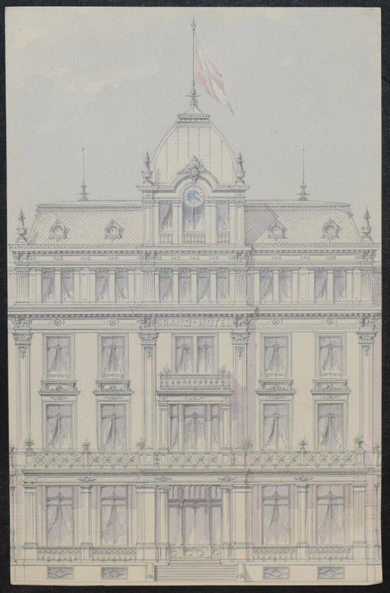 Architektur-Zeichnungen - Zürich um 1890 - 6 Original-Aquarelle - Schweiz 2