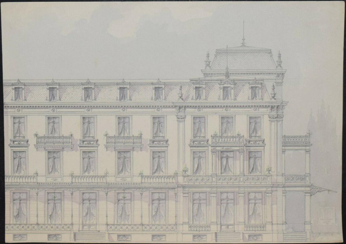 Architektur-Zeichnungen - Zürich um 1890 - 6 Original-Aquarelle - Schweiz 3