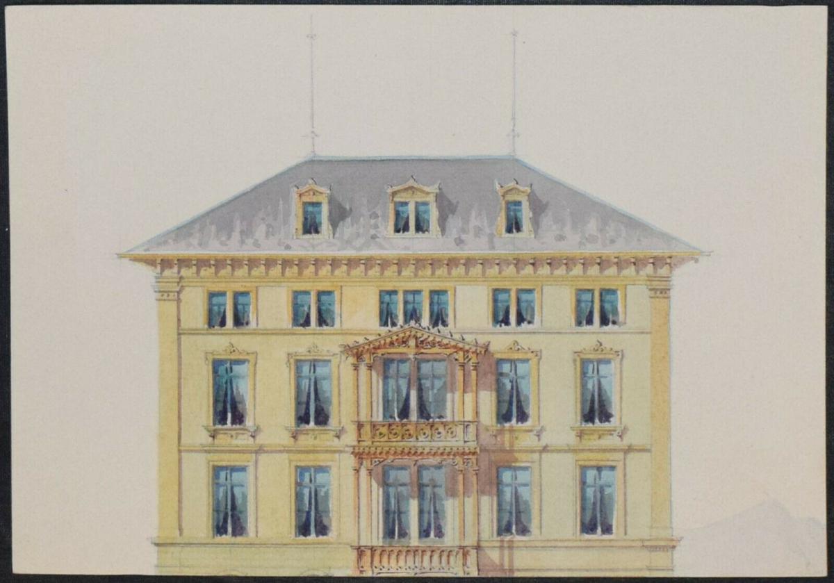 Architektur-Zeichnungen - Zürich um 1890 - 6 Original-Aquarelle - Schweiz 4