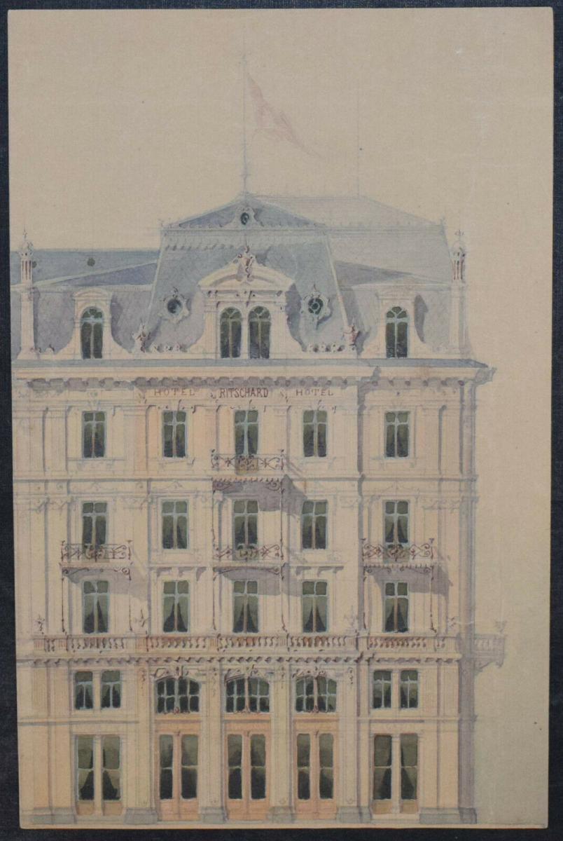 Architektur-Zeichnungen - Zürich um 1890 - 6 Original-Aquarelle - Schweiz 5