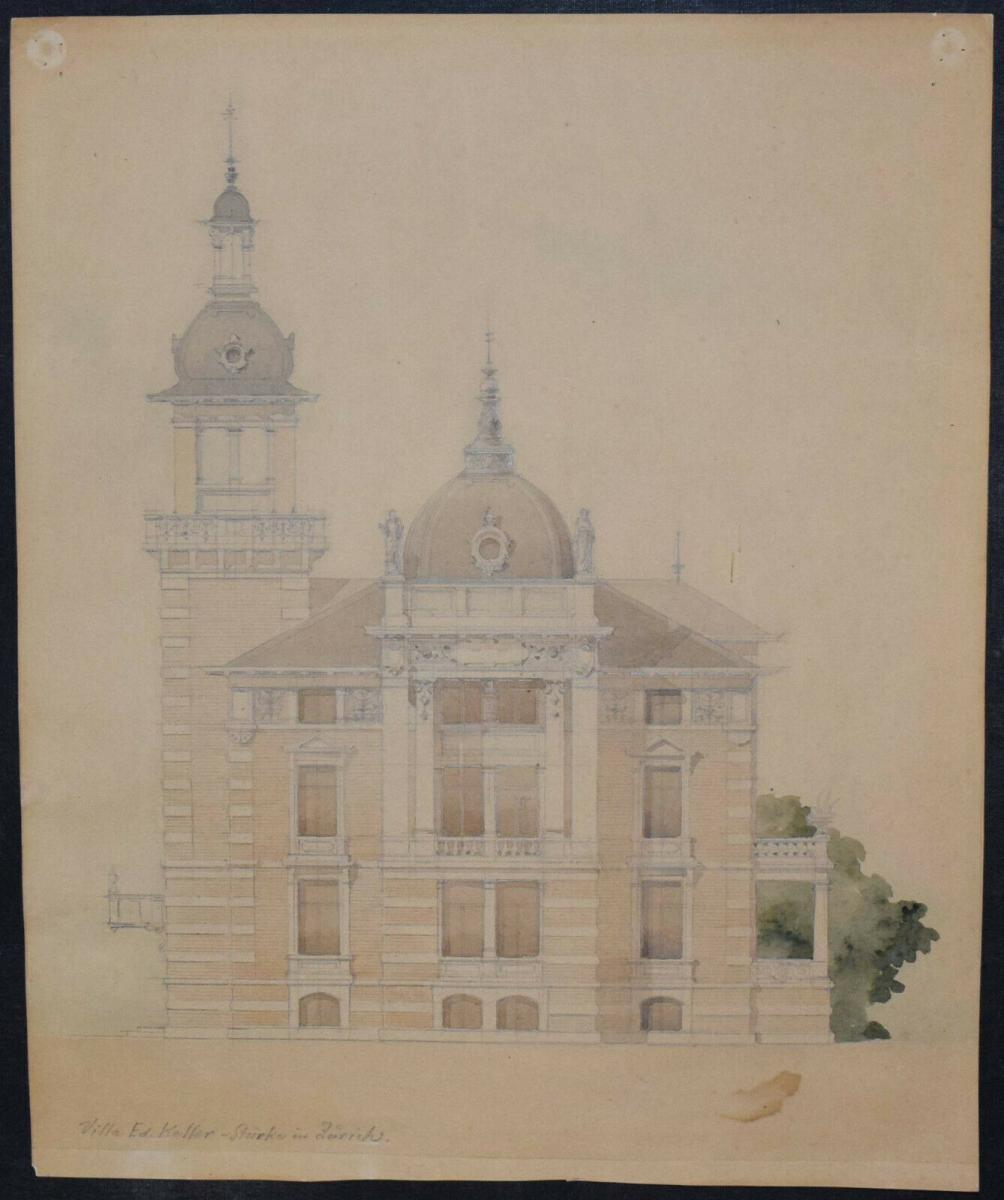 Architektur-Zeichnungen - Zürich um 1890 - 6 Original-Aquarelle - Schweiz 6