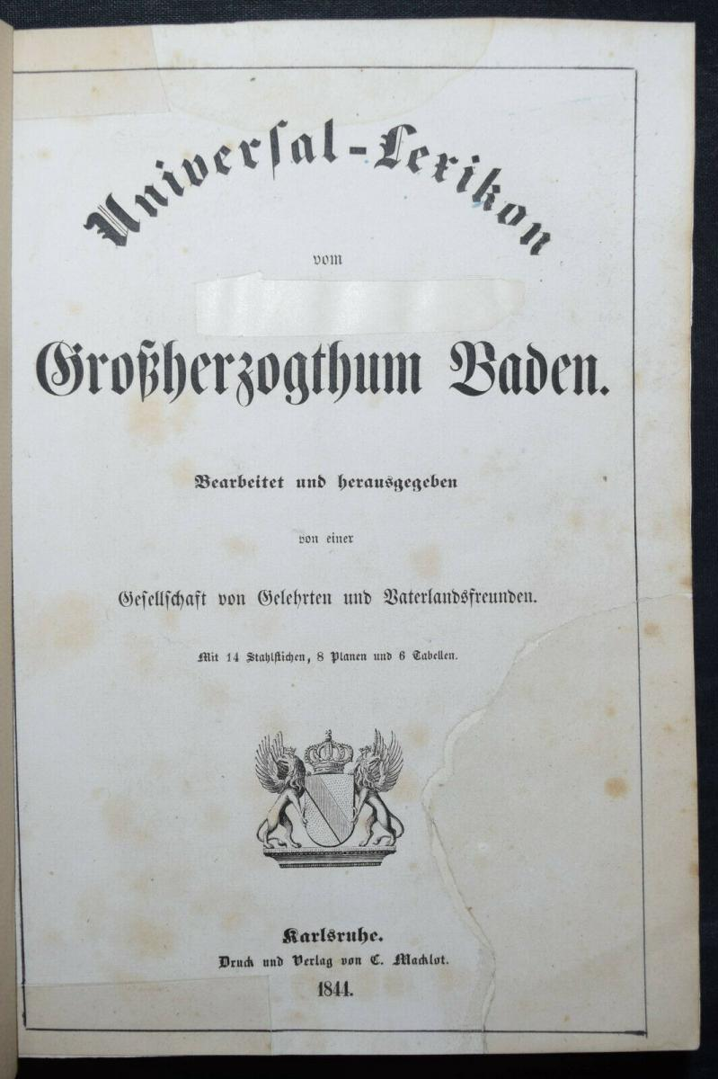 UNIVERSAL-LEXIKON VOM GROSSHERZOGTHUM BADEN - 1844 - HUHN - TRACHTEN - BADENIA 3