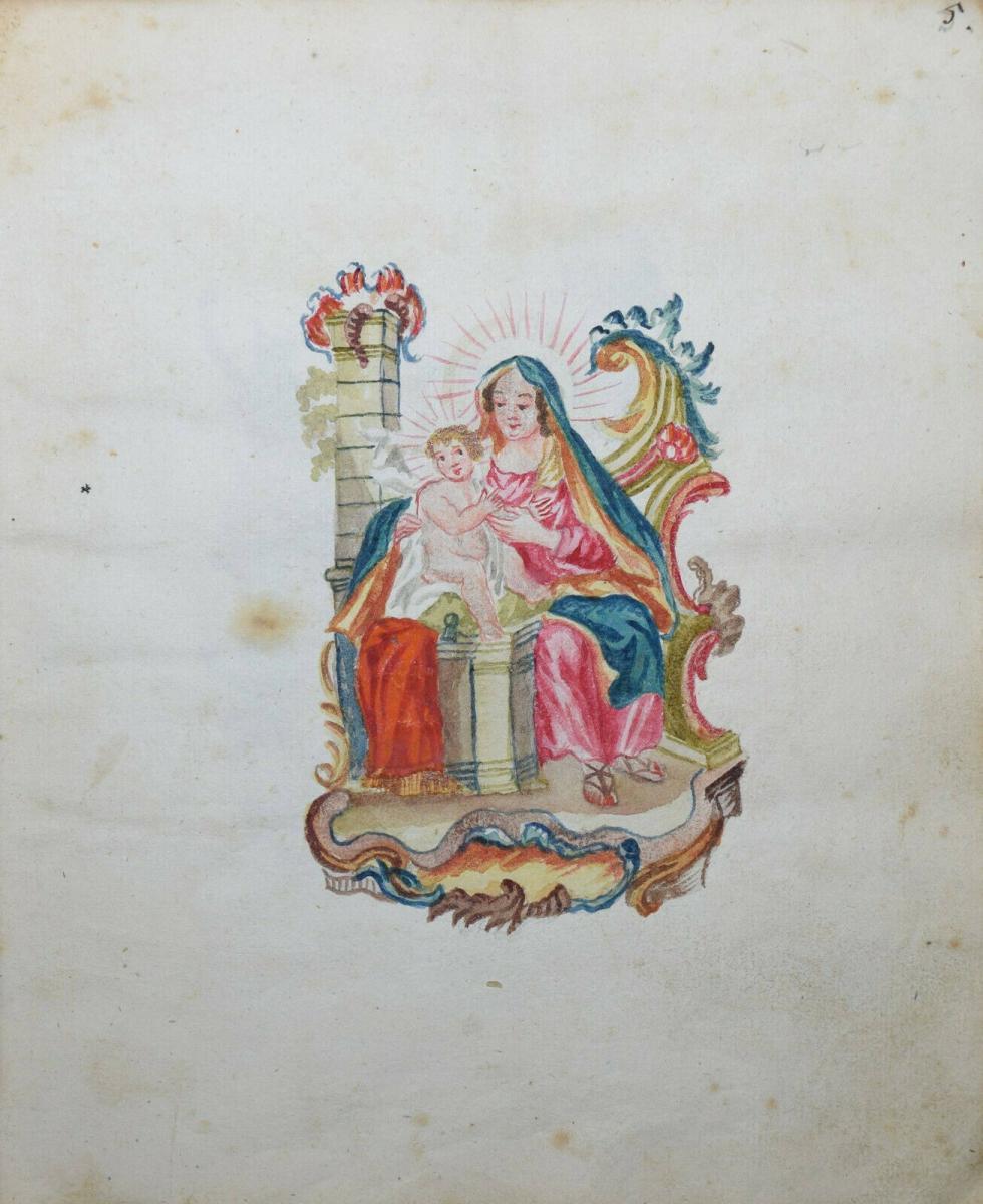 22 ORIGINAL-AQUARELLE - SEHR SCHÖNES ZEICHENBUCH EINES PÄDAGOGIK-STUDENTEN 1770 11