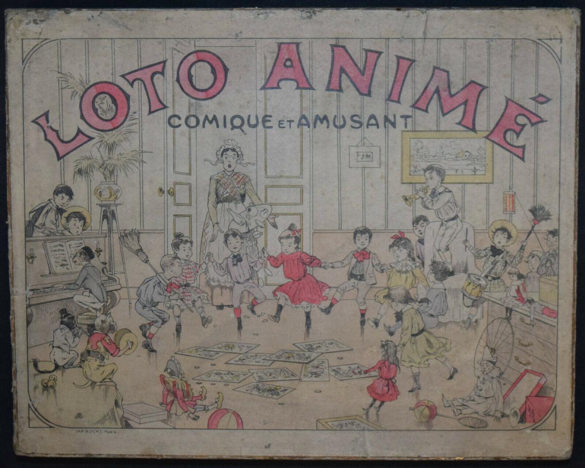 UNGEWÖHNLICH SCHÖNES UND ORIGINELLES LOTTO-SPIEL UM 1870 - LOTTO ANIMÉ 1