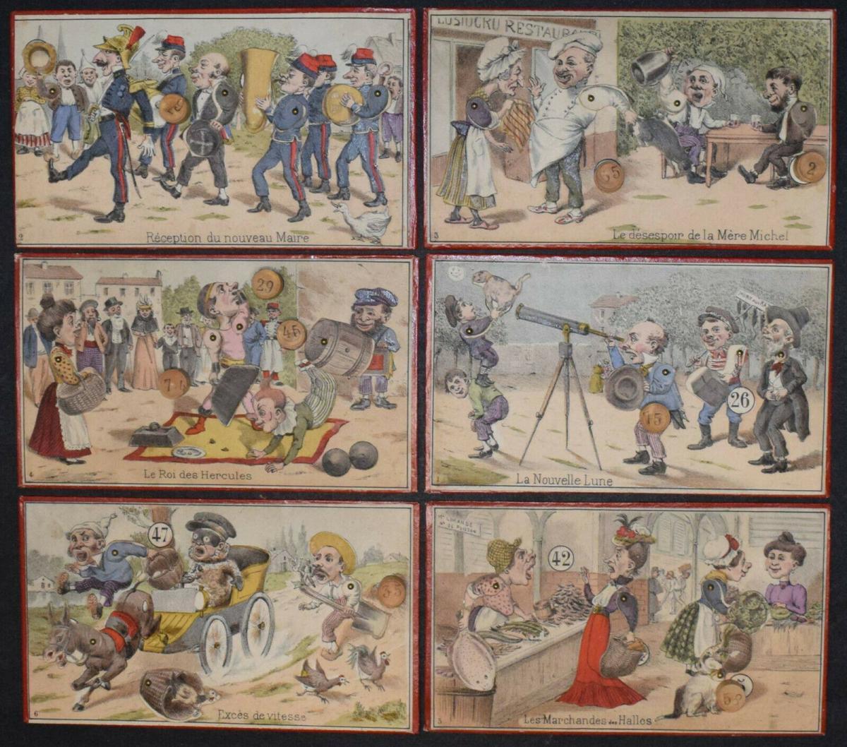 UNGEWÖHNLICH SCHÖNES UND ORIGINELLES LOTTO-SPIEL UM 1870 - LOTTO ANIMÉ 2