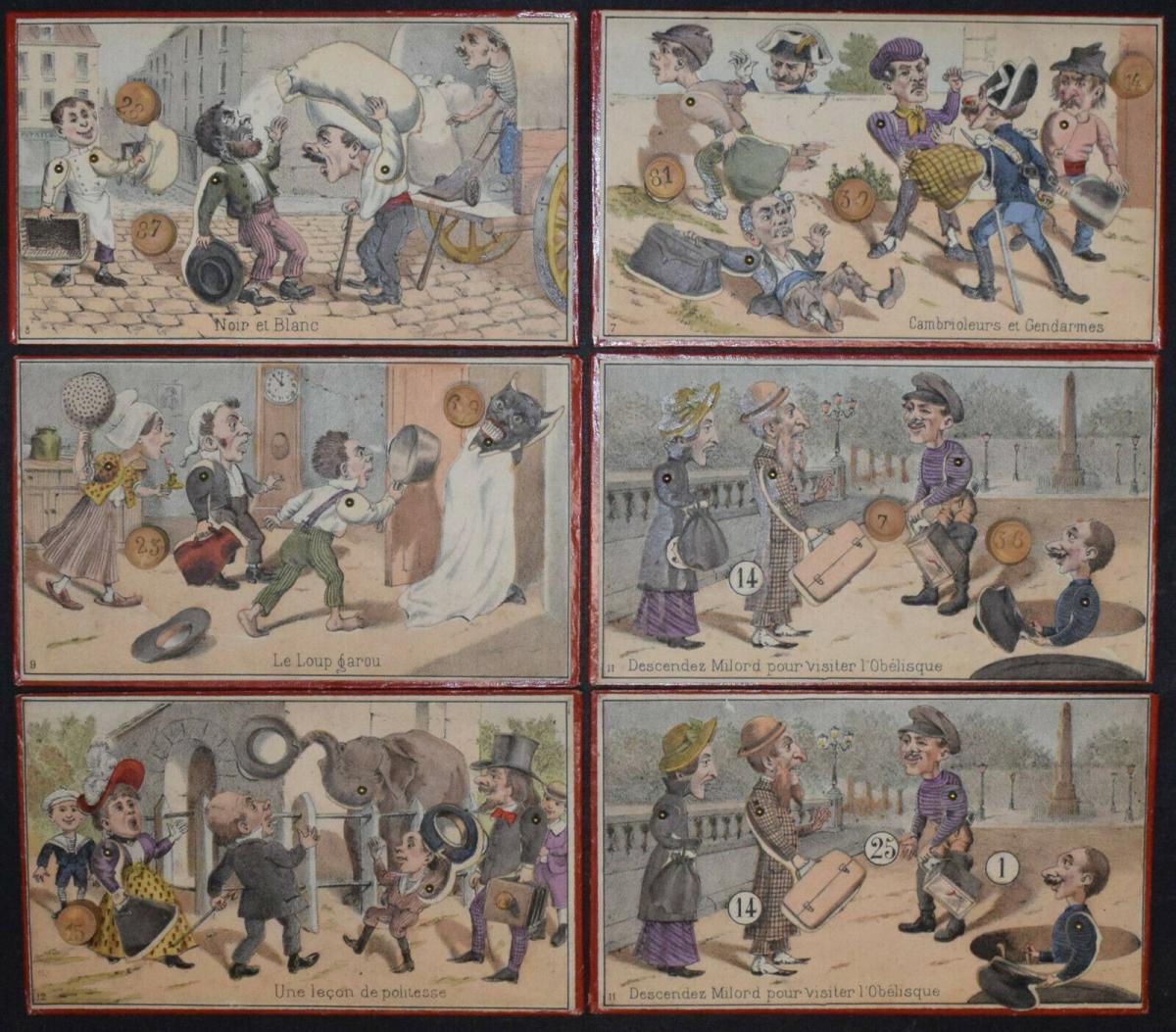 UNGEWÖHNLICH SCHÖNES UND ORIGINELLES LOTTO-SPIEL UM 1870 - LOTTO ANIMÉ 3