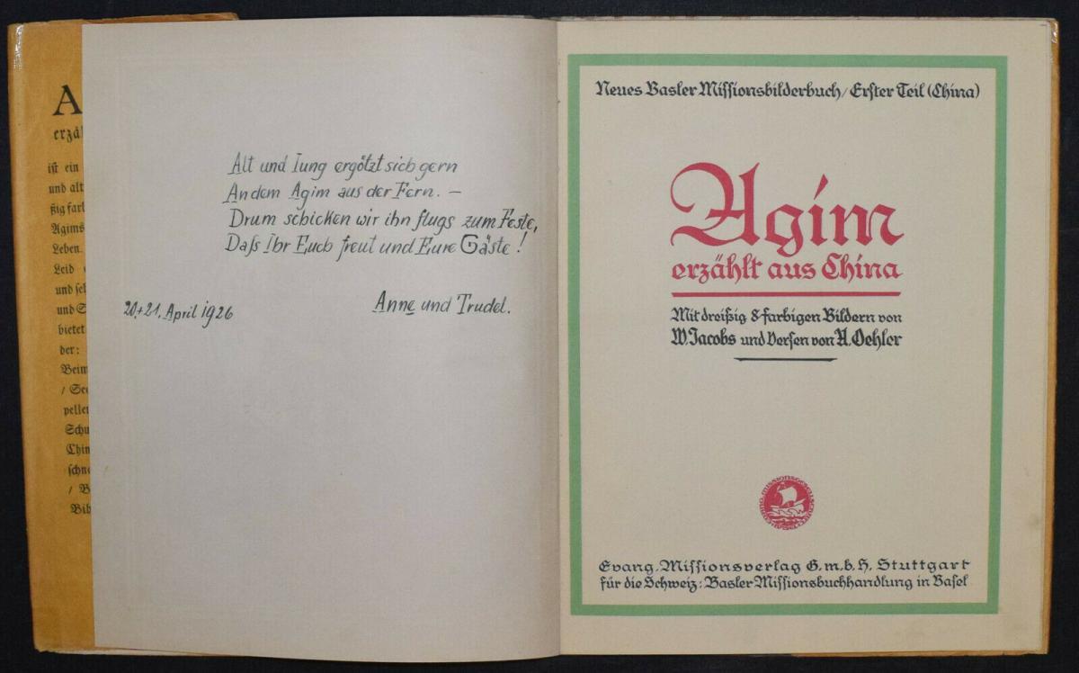AGIM ERZÄHLT AUS CHINA - ANNA OEHLER - ERSTAUSGABE 1924 - MISSIONSLITERATUR 2