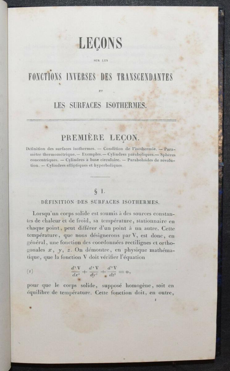 LEÇONS SUR LES FONCTIONS INVERSES DES TRANSCENDANTES - GABRIEL LAMÉ - 1857 2