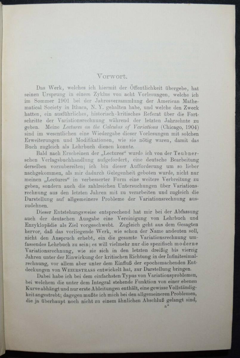 BOLZA, VORLESUNGEN ÜBER VARIATIONSRECHNUNG MATHEMATIK - 1909 - SELTENE ERSTE EA 1