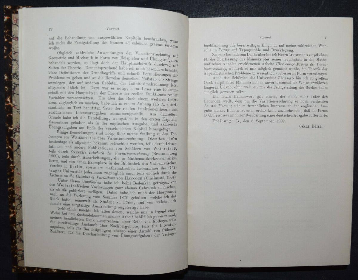 BOLZA, VORLESUNGEN ÜBER VARIATIONSRECHNUNG MATHEMATIK - 1909 - SELTENE ERSTE EA 2