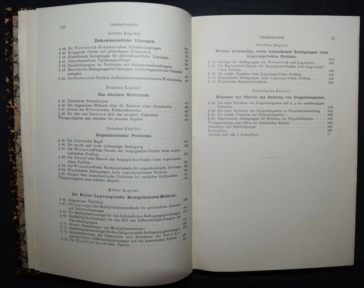 BOLZA, VORLESUNGEN ÜBER VARIATIONSRECHNUNG MATHEMATIK - 1909 - SELTENE ERSTE EA 4