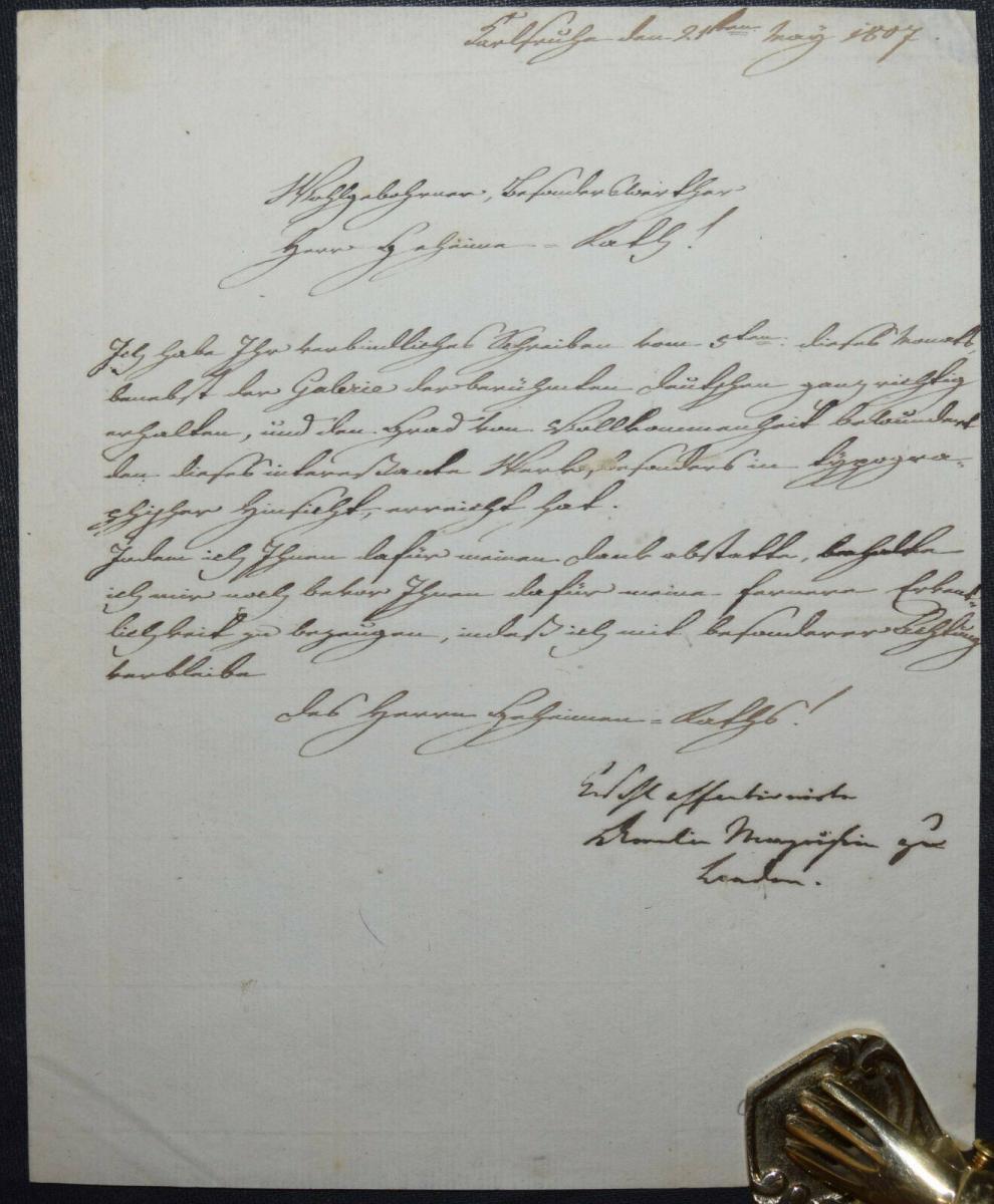 AMALIE MARKGRÄFIN VON BADEN, EIGENHÄNDIGER BRIEF - KARLSRUHE 1807 0