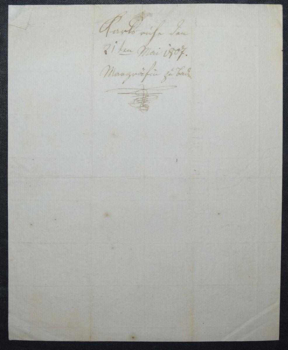 AMALIE MARKGRÄFIN VON BADEN, EIGENHÄNDIGER BRIEF - KARLSRUHE 1807 1