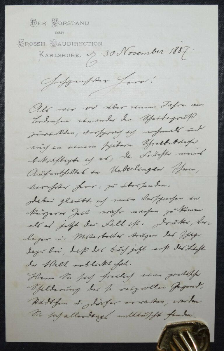 JOSEF DURM - EIGENHÄNDIGER BRIEF - KARLSRUHE 1887 - AUTOGRAPHEN 0