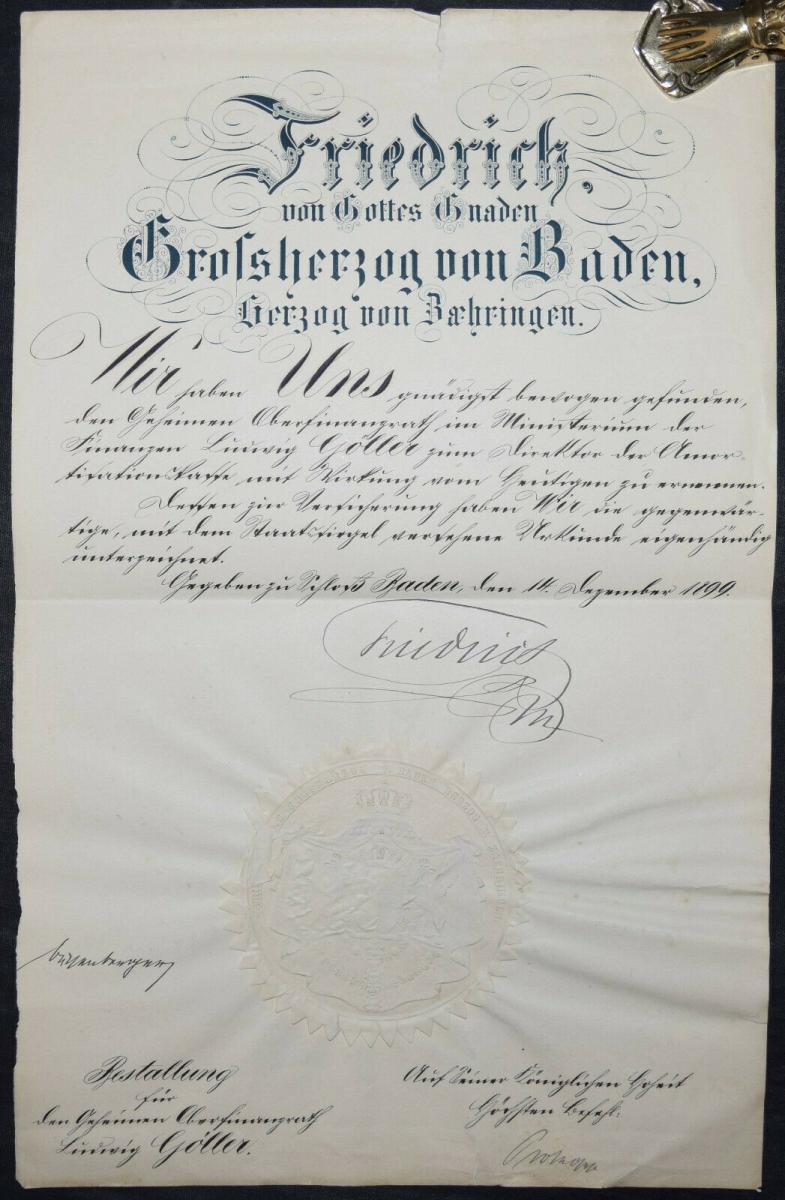 Friedrich I., Großherzog von Baden, Eigenhändige Unterschrift 1899 0