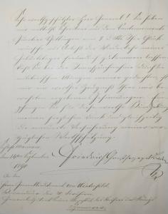 Friedrich I., Großherzog von Baden, Eigenhändiger Brief an Hugo v. Winterfeld
