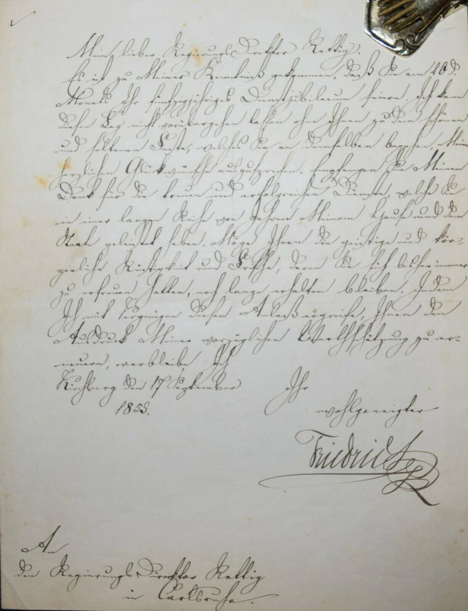 FRIEDRICH I., GROSSHERZOG VON BADEN, EIGENHÄNDIGER BRIEF - KARLSRUHE 1859 0