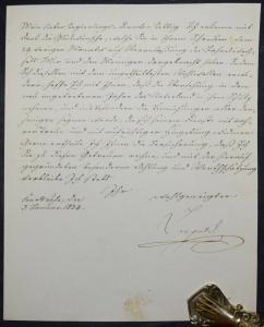 KARL LEOPOLD, GROSSHERZOG VON BADEN, EIGENHÄNDIGER BRIEF VOM JANUAR 1834