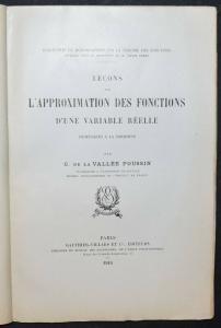 LA VALLÉE POUSSIN - LEÇONS SUR L'APPROXIMATION DES FONCTIONS…1919 - MATHEMATIK