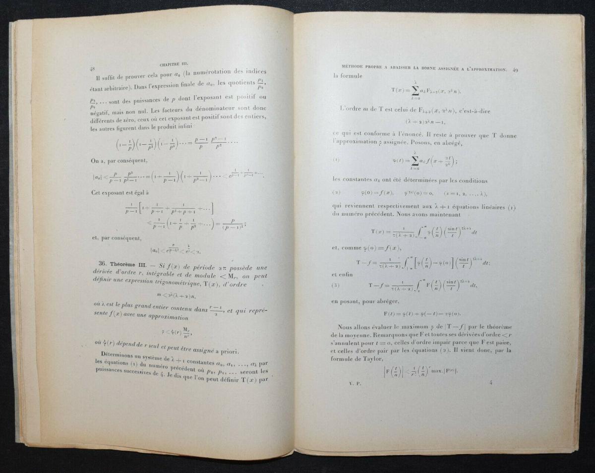 LA VALLÉE POUSSIN - LEÇONS SUR L'APPROXIMATION DES FONCTIONS…1919 - MATHEMATIK 1