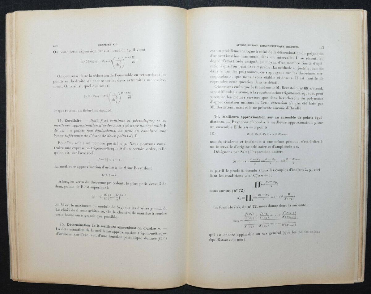LA VALLÉE POUSSIN - LEÇONS SUR L'APPROXIMATION DES FONCTIONS…1919 - MATHEMATIK 2