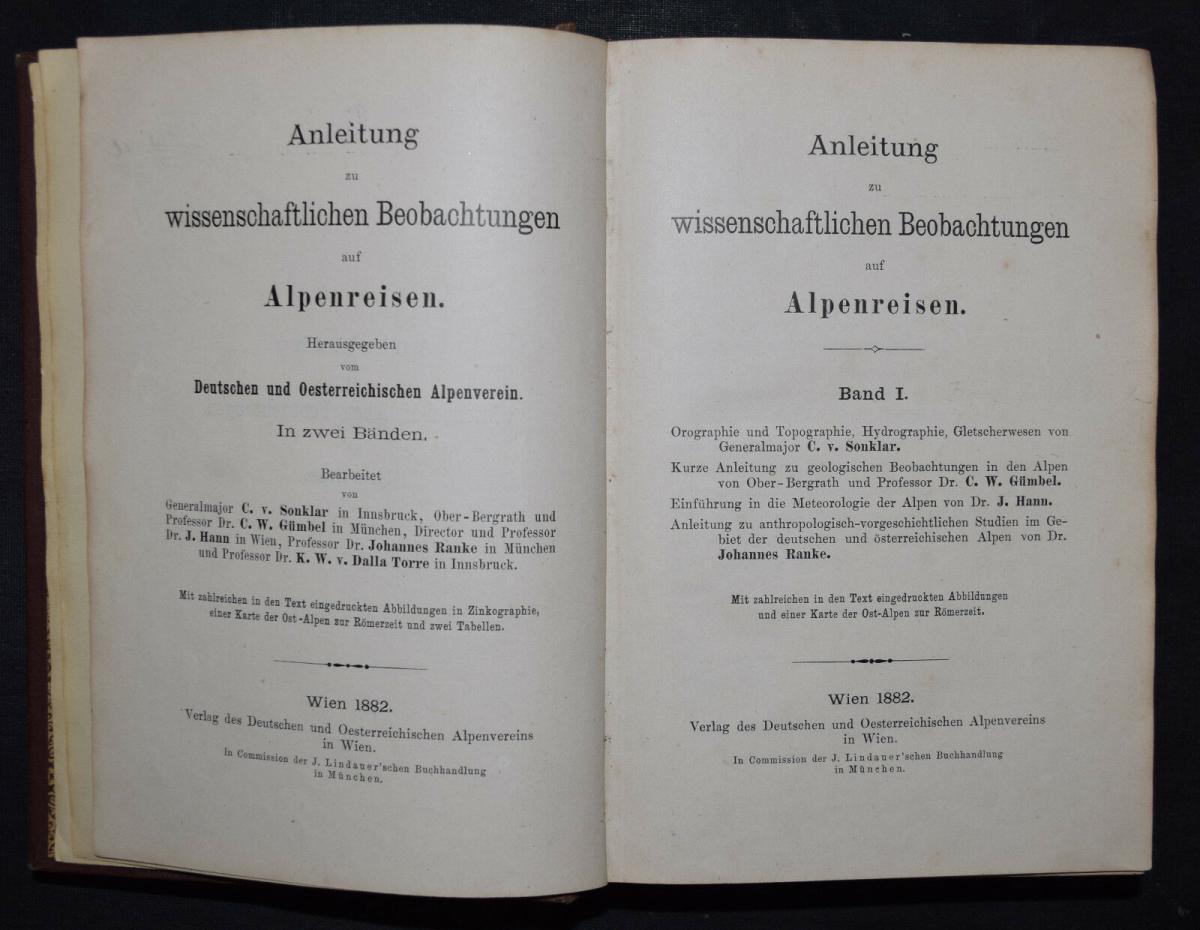 ALPEN-REISEN 1882 - Anleitung zu wissenschaftlichen Beobachtungen.. - Alpinistik 11