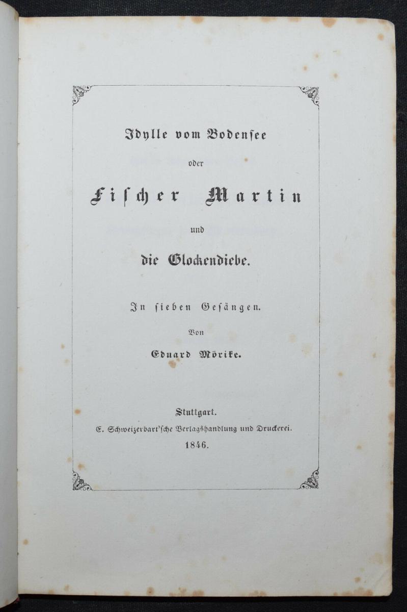 EDUARD MÖRIKE - IDYLLE VOM BODENSEE - 1846 - ERSTE AUSGABE 0