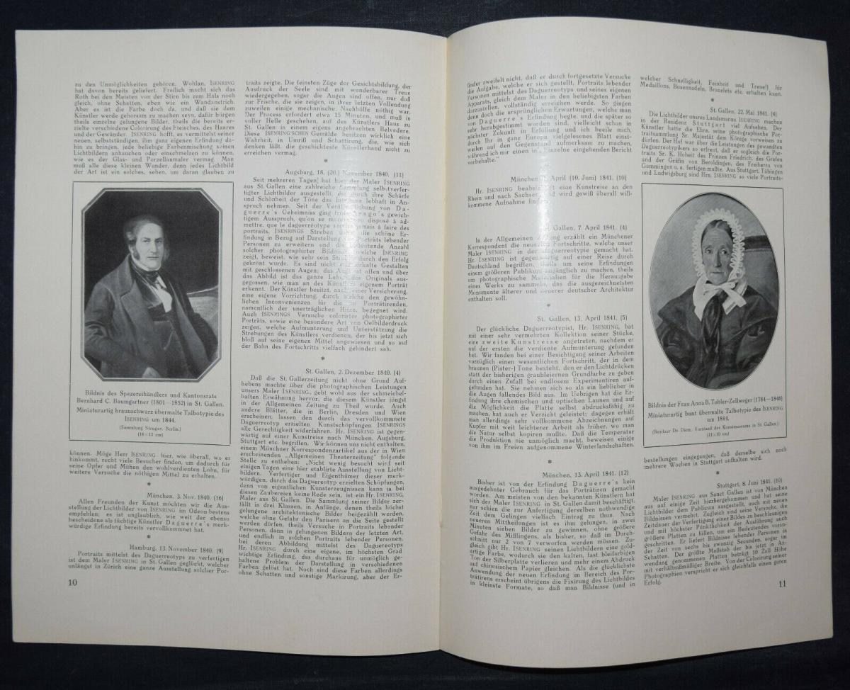 ISENRING – STENGER, DER DAGUERREOTYPIST J. B. ISENRING - 1931 DAGUERREOTYPIE 1